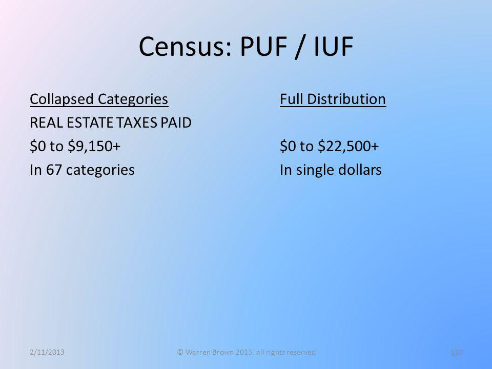 Census: PUF / IUF Collapsed Categories REAL ESTATE TAXES PAID $0 to $9,150+ In 67 categories 2/11/2013© Warren Brown 2013, all rights reserved110 Full