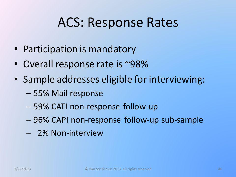 ACS: Response Rates Participation is mandatory Overall response rate is ~98% Sample addresses eligible for interviewing: – 55% Mail response – 59% CAT