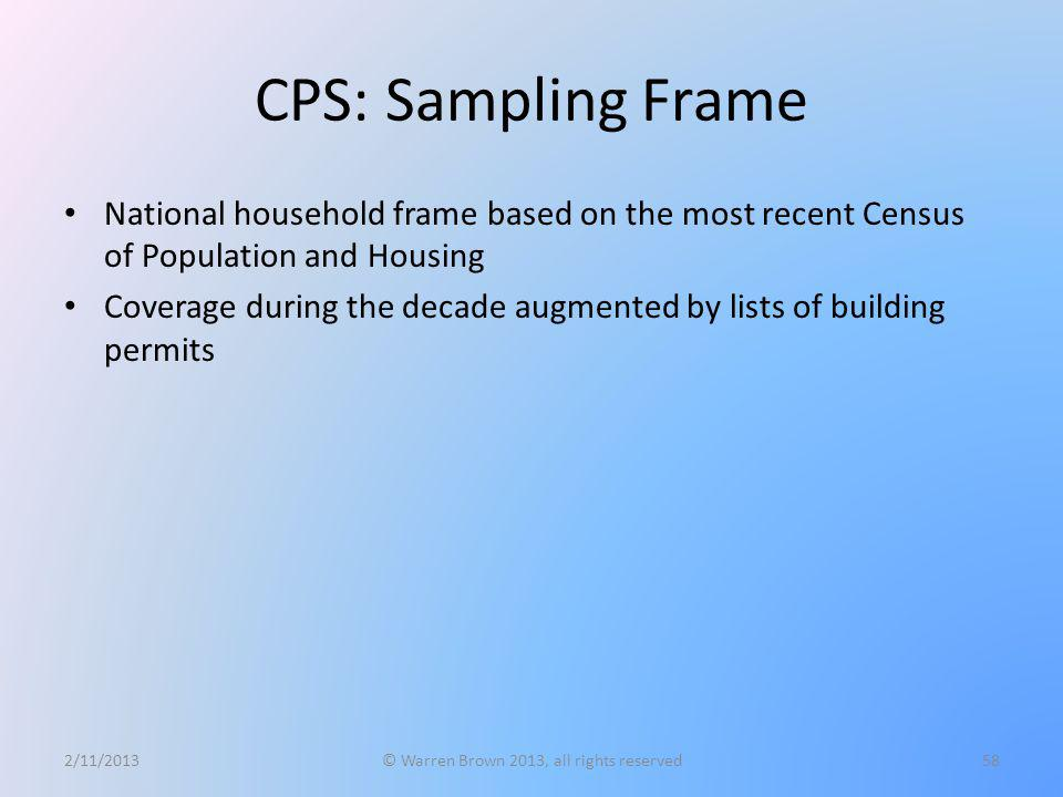 CPS: Sampling Frame National household frame based on the most recent Census of Population and Housing Coverage during the decade augmented by lists o