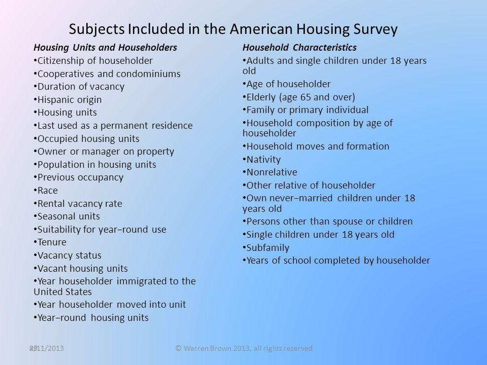 89 Subjects Included in the American Housing Survey Housing Units and Householders Citizenship of householder Cooperatives and condominiums Duration o