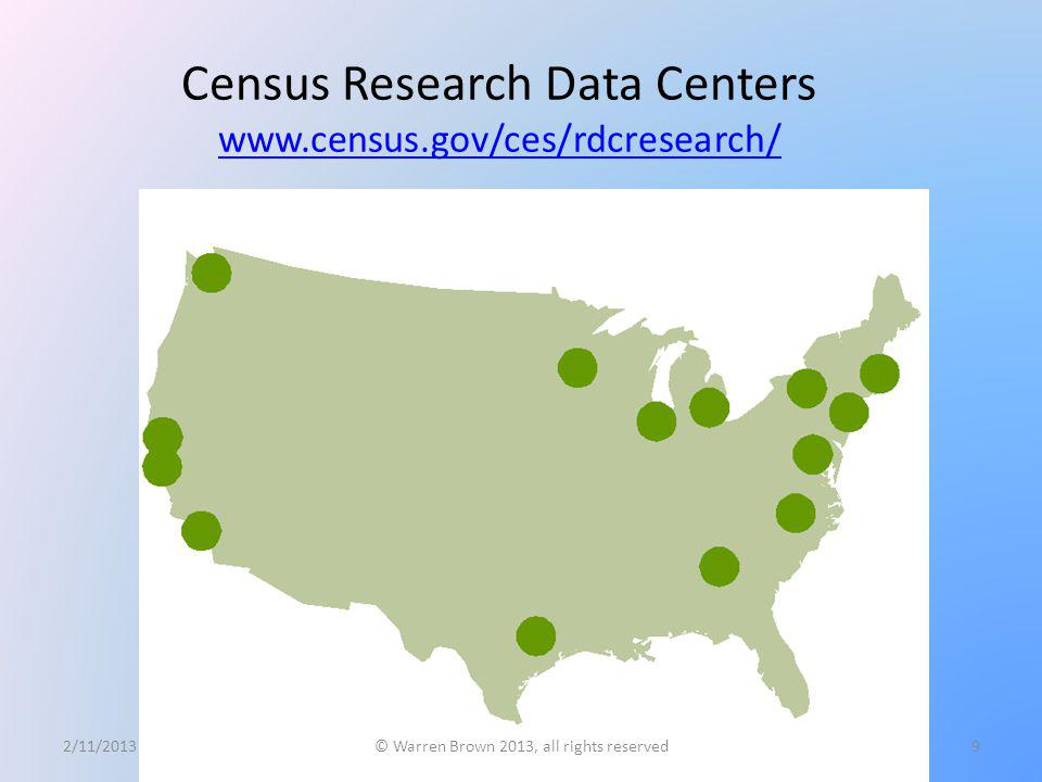 Census Research Data Centers www.census.gov/ces/rdcresearch/ www.census.gov/ces/rdcresearch/ 2/11/2013© Warren Brown 2013, all rights reserved9