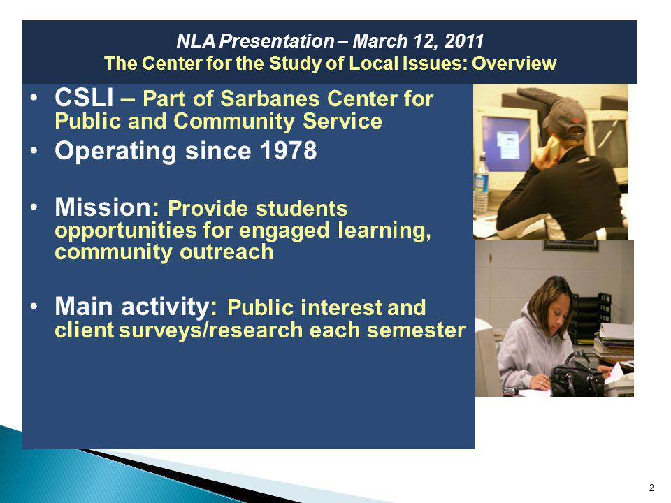 ProposalSpring 2003Fall 2003Spring 2009 Cut programs403461 Increase taxes363417 Other (combination, other suggestion) --1814 Dont know24148 Total100 13 NLA Presentation – March 12, 2011 Funding Government – cut programs or cut spending.