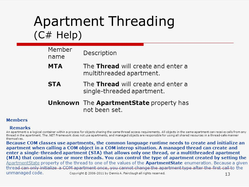 Copyright © 2006-2011 by Dennis A. Fairclough all rights reserved. 13 Apartment Threading (C# Help) Member name Description MTAThe Thread will create