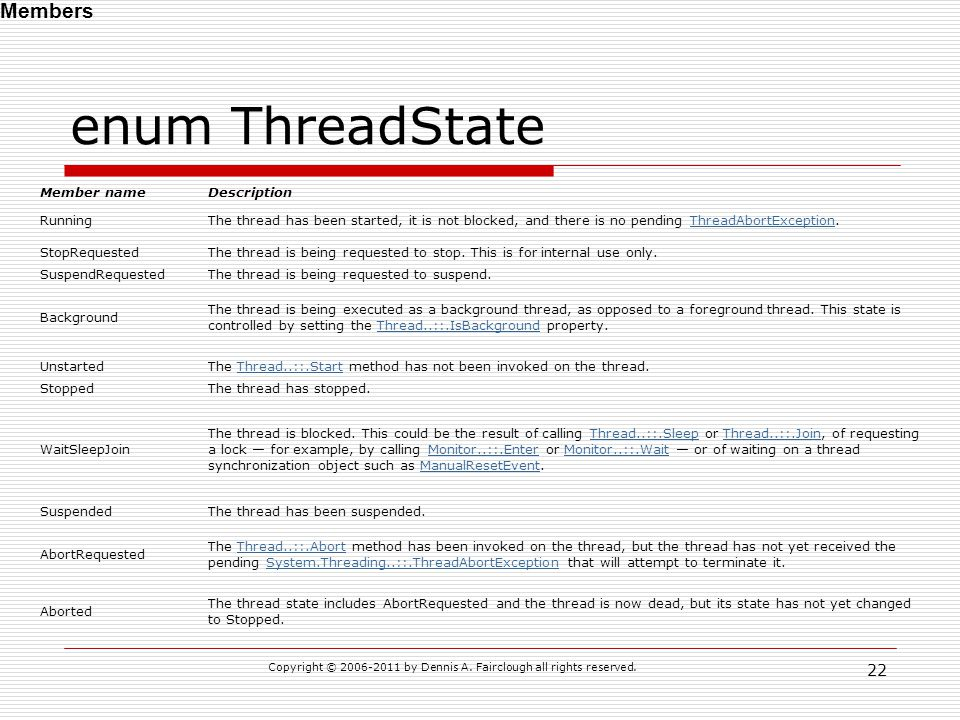 enum ThreadState Copyright © 2006-2011 by Dennis A. Fairclough all rights reserved. 22 Member nameDescription RunningThe thread has been started, it i