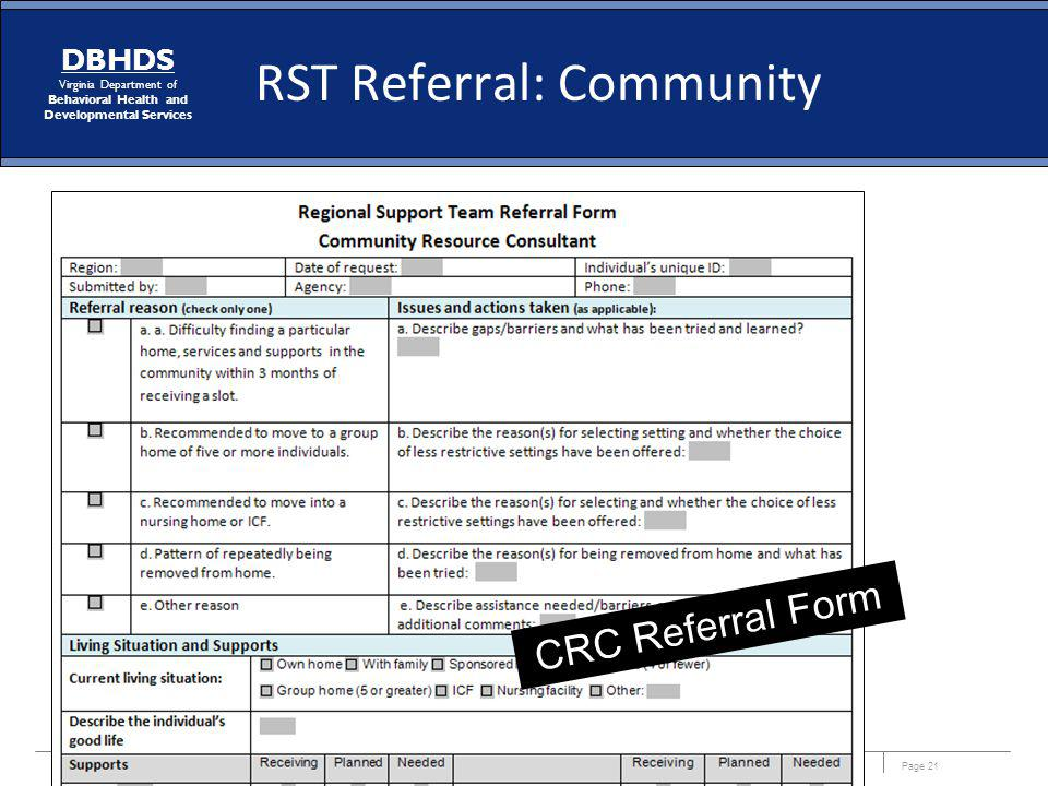 Page 21 DBHDS Virginia Department of Behavioral Health and Developmental Services CRC Referral Form RST Referral: Community