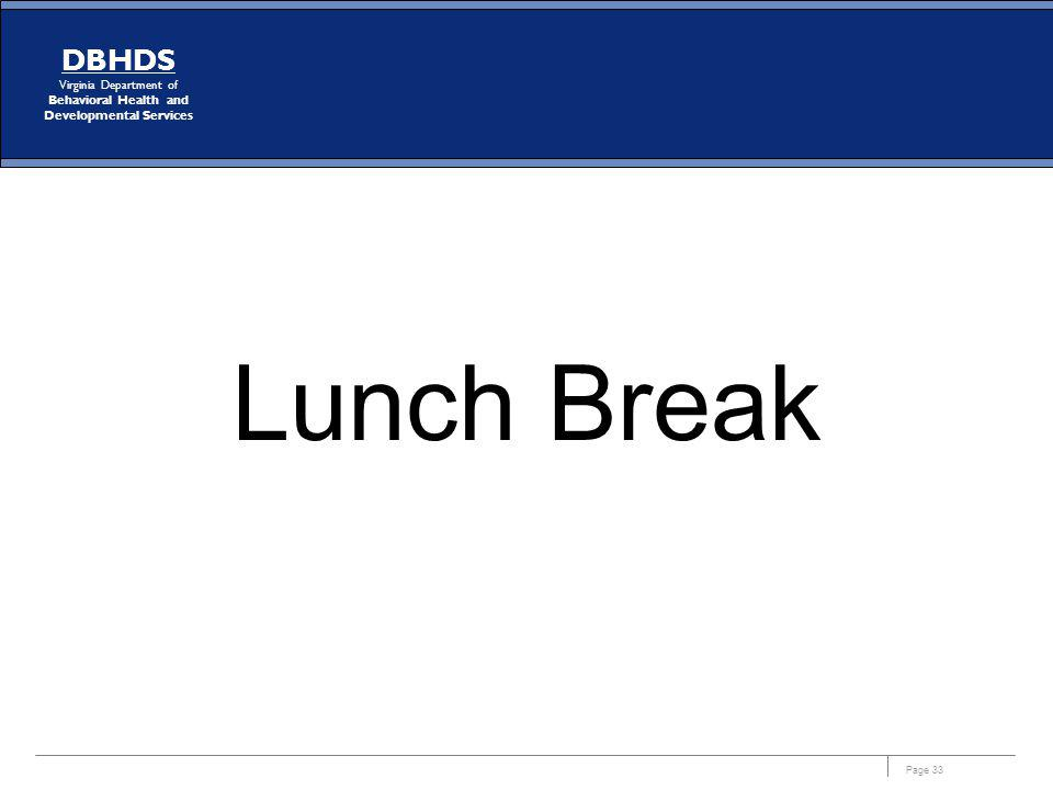 Page 33 DBHDS Virginia Department of Behavioral Health and Developmental Services Lunch Break