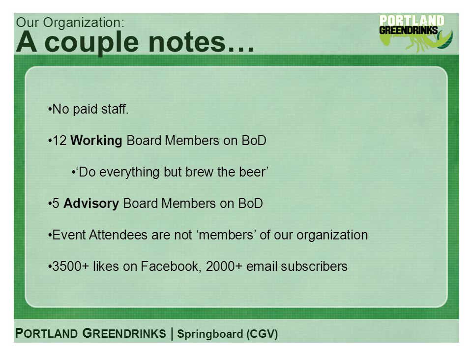 P ORTLAND G REENDRINKS | Springboard (CGV) Our Organization: A couple notes… No paid staff. 12 Working Board Members on BoD Do everything but brew the