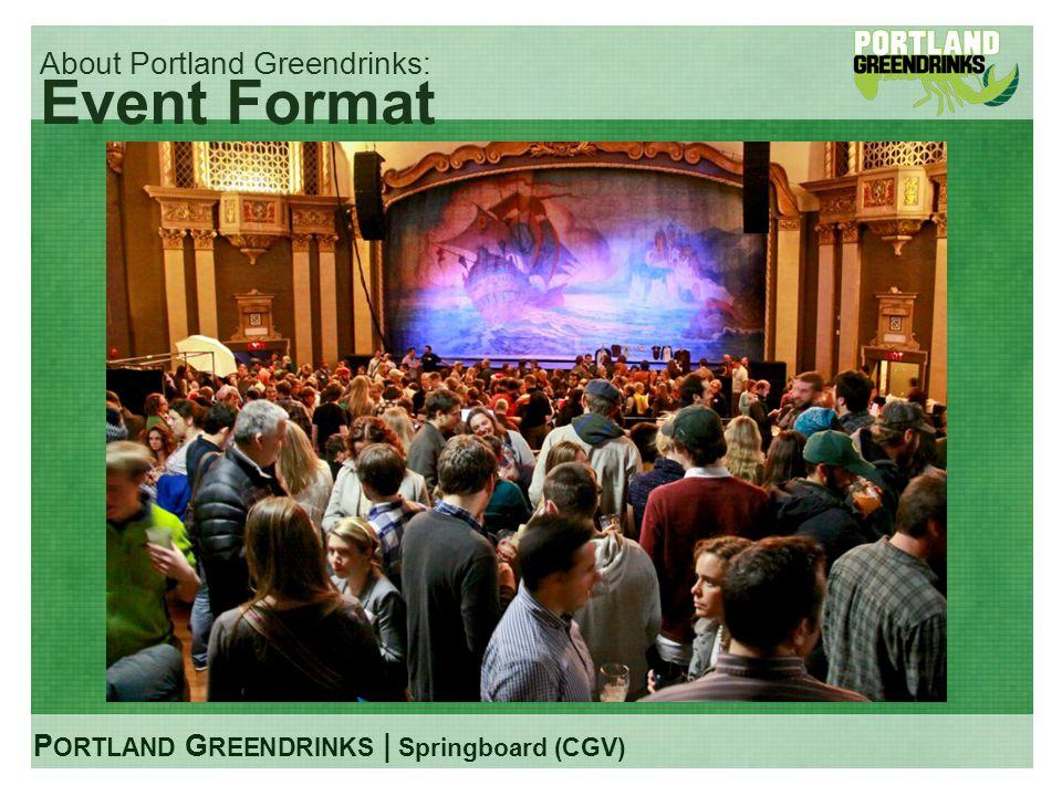 P ORTLAND G REENDRINKS | Springboard (CGV) About Portland Greendrinks: Event Format