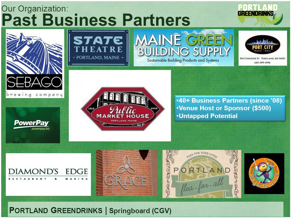 P ORTLAND G REENDRINKS | Springboard (CGV) Our Organization: Past Business Partners 40+ Business Partners (since 08) Venue Host or Sponsor ($500) Unta