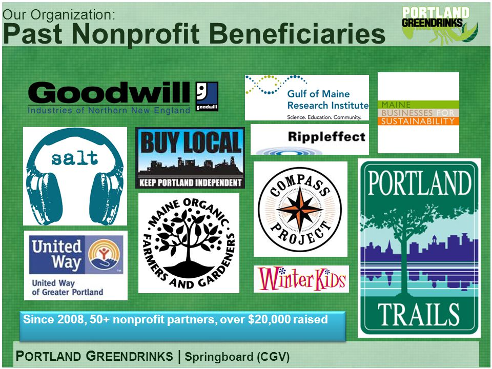P ORTLAND G REENDRINKS | Springboard (CGV) Our Organization: Past Nonprofit Beneficiaries Since 2008, 50+ nonprofit partners, over $20,000 raised