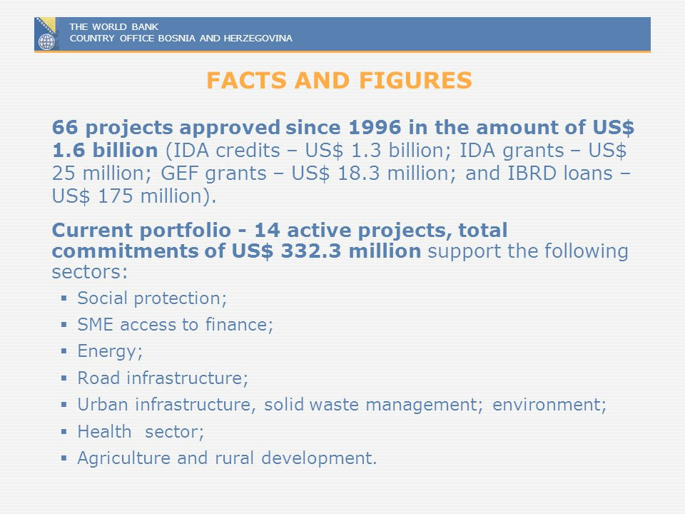 THE WORLD BANK COUNTRY OFFICE BOSNIA AND HERZEGOVINA FACTS AND FIGURES 66 projects approved since 1996 in the amount of US$ 1.6 billion (IDA credits –