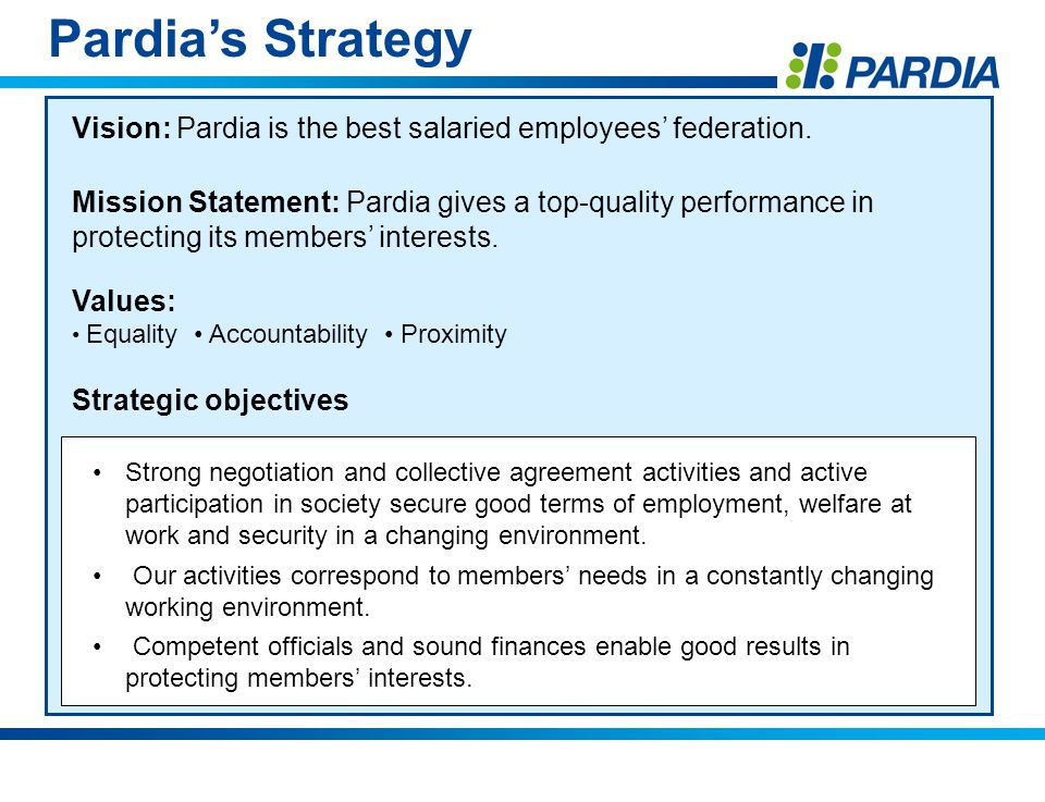 Pardias Strategy Vision: Pardia is the best salaried employees federation.