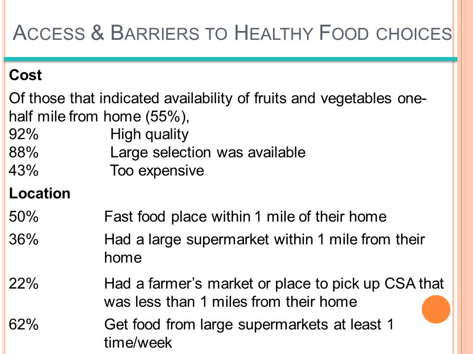 Cost Of those that indicated availability of fruits and vegetables one- half mile from home (55%), 92% High quality 88% Large selection was available 43% Too expensive Location 50%Fast food place within 1 mile of their home 36%Had a large supermarket within 1 mile from their home 22%Had a farmers market or place to pick up CSA that was less than 1 miles from their home 62%Get food from large supermarkets at least 1 time/week A CCESS & B ARRIERS TO H EALTHY F OOD CHOICES