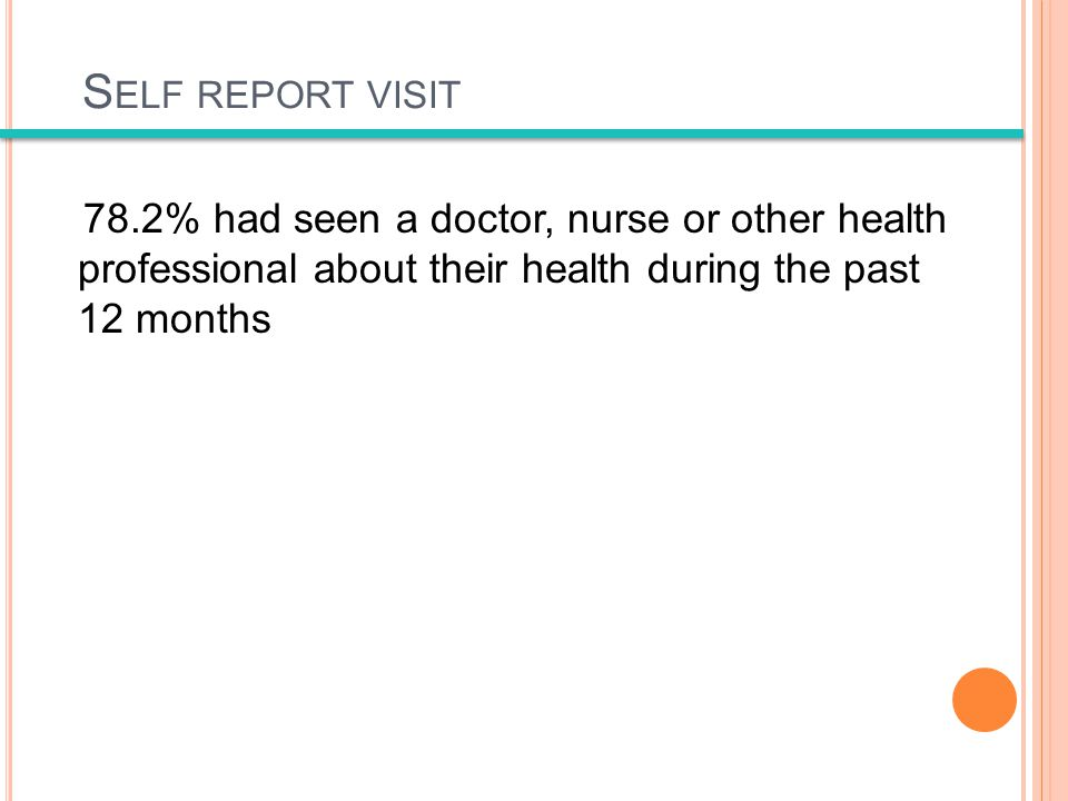 S ELF REPORT VISIT 78.2% had seen a doctor, nurse or other health professional about their health during the past 12 months