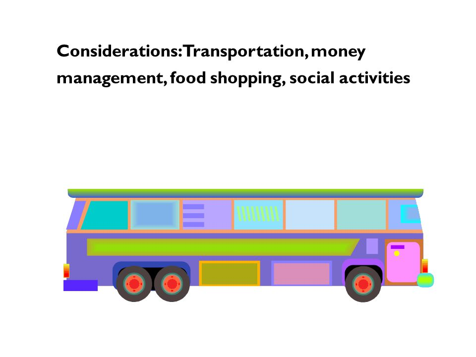 Considerations: Transportation, money management, food shopping, social activities