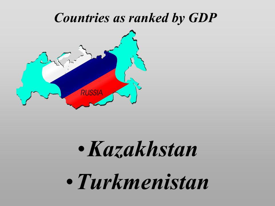 Countries as ranked by GDP Kazakhstan Turkmenistan