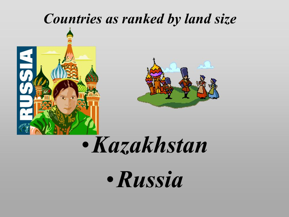 Countries as ranked by land size Kazakhstan Russia