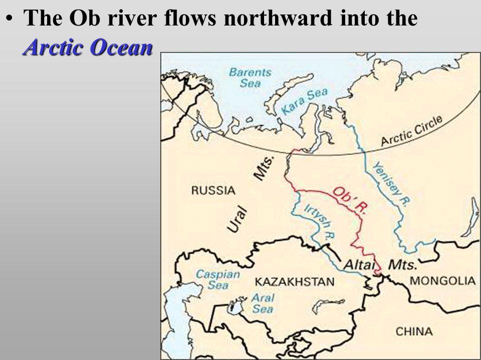 Arctic OceanThe Ob river flows northward into the Arctic Ocean