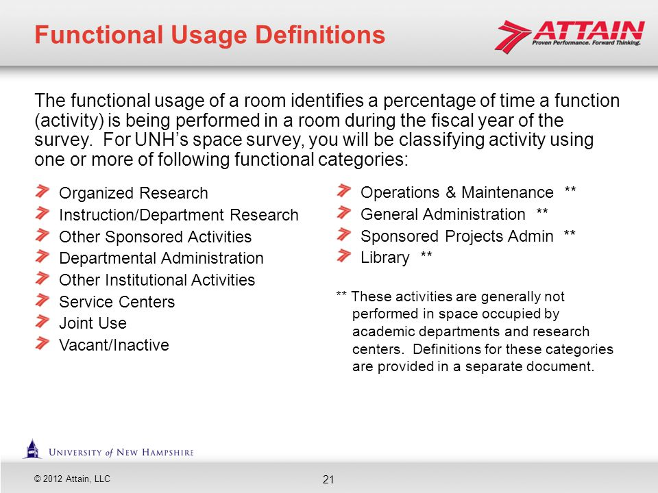 © 2012 Attain, LLC The functional usage of a room identifies a percentage of time a function (activity) is being performed in a room during the fiscal