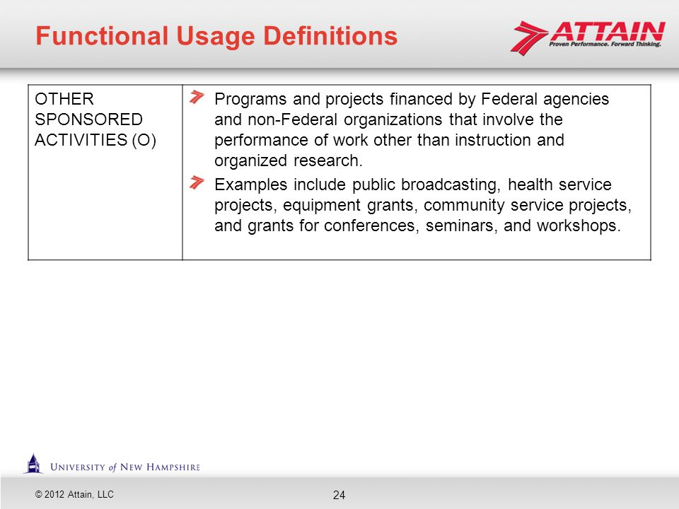 © 2012 Attain, LLC OTHER SPONSORED ACTIVITIES (O) Programs and projects financed by Federal agencies and non-Federal organizations that involve the pe