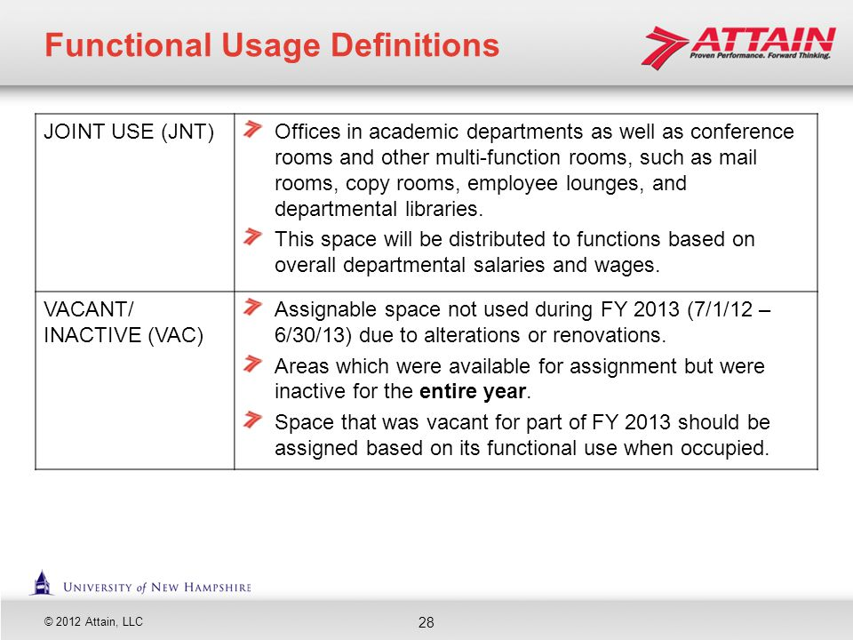 © 2012 Attain, LLC JOINT USE (JNT)Offices in academic departments as well as conference rooms and other multi-function rooms, such as mail rooms, copy