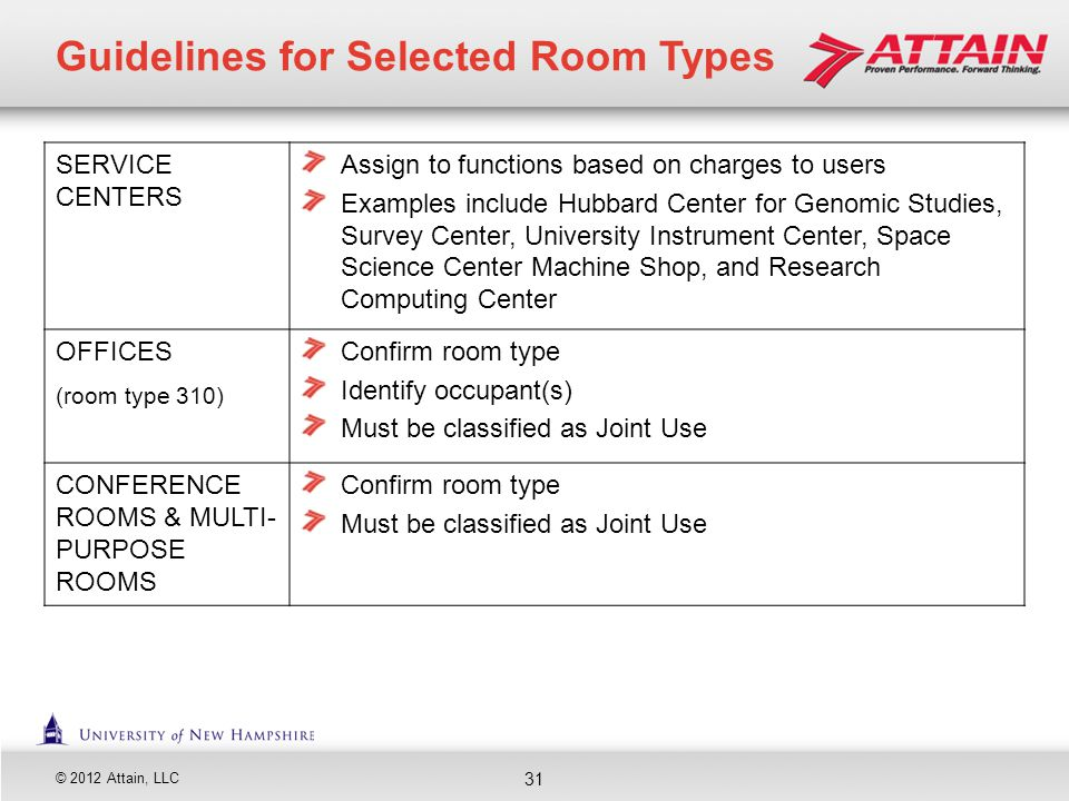 © 2012 Attain, LLC 31 Guidelines for Selected Room Types SERVICE CENTERS Assign to functions based on charges to users Examples include Hubbard Center