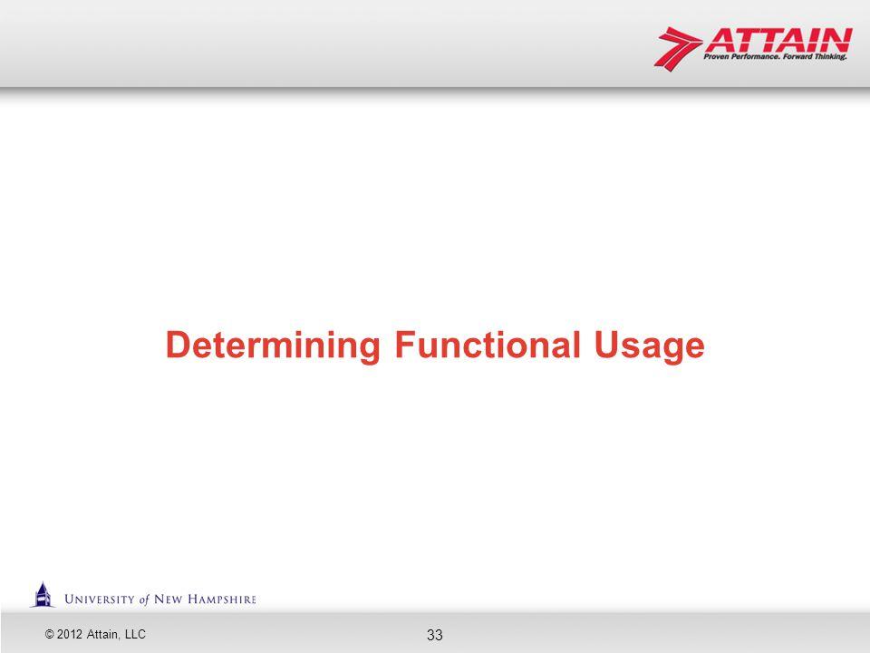© 2012 Attain, LLC 33 Determining Functional Usage