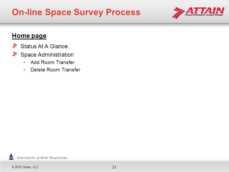 © 2012 Attain, LLC Home page Status At A Glance Space Administration Add Room Transfer Delete Room Transfer On-line Space Survey Process 51