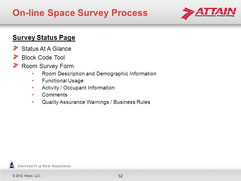 © 2012 Attain, LLC Survey Status Page Status At A Glance Block Code Tool Room Survey Form Room Description and Demographic Information Functional Usag