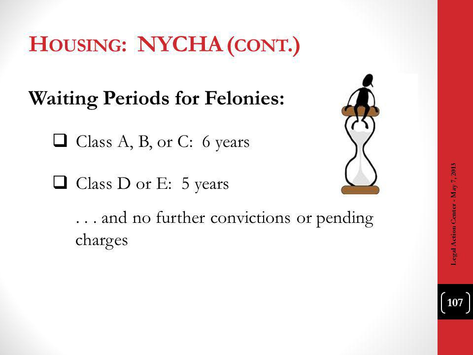 H OUSING : NYCHA ( CONT.) Waiting Periods for Felonies: Class A, B, or C: 6 years Class D or E: 5 years...