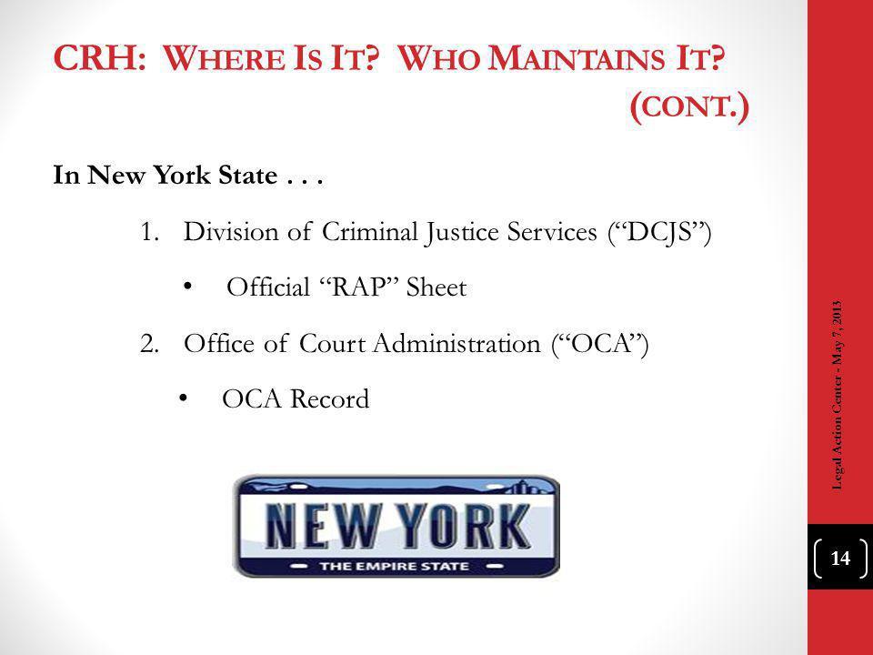 CRH: W HERE I S I T ? W HO M AINTAINS I T ? ( CONT.) In New York State... 1.Division of Criminal Justice Services (DCJS) Official RAP Sheet 2.Office o