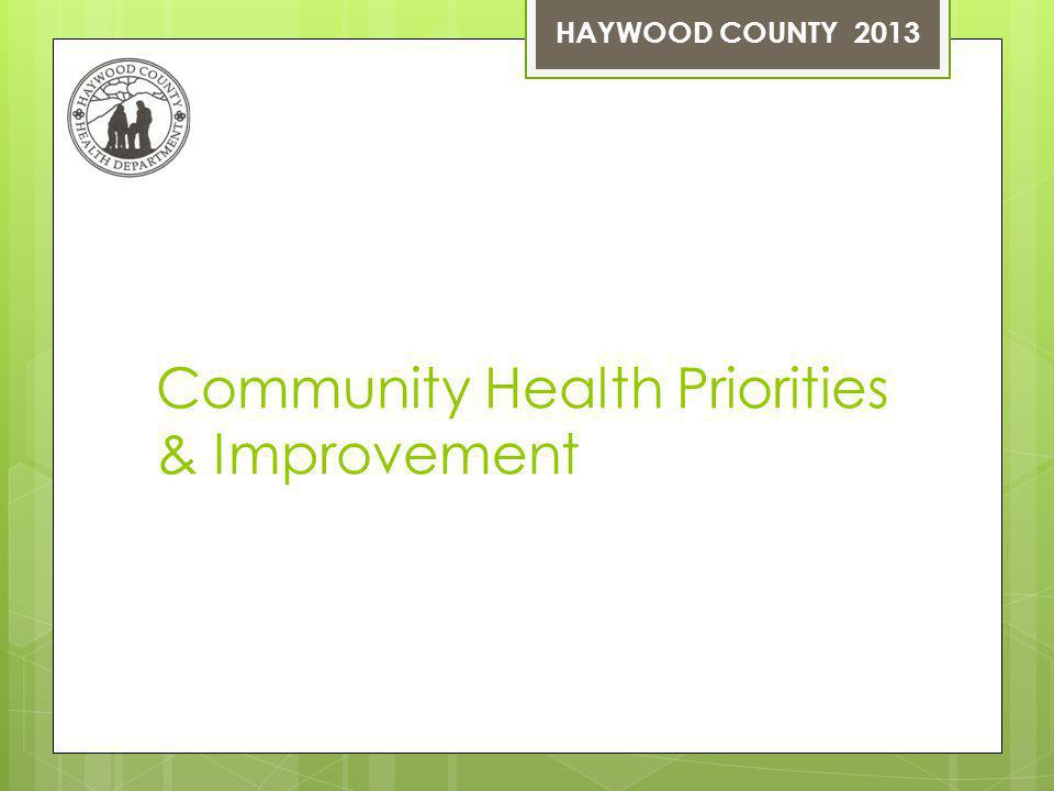 Community Health Priorities & Improvement HAYWOOD COUNTY 2013