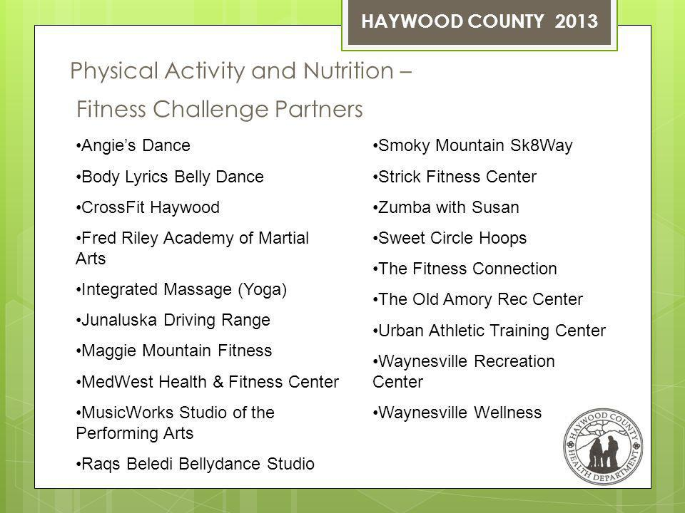 Physical Activity and Nutrition – Fitness Challenge Partners HAYWOOD COUNTY 2013 Angies Dance Body Lyrics Belly Dance CrossFit Haywood Fred Riley Academy of Martial Arts Integrated Massage (Yoga) Junaluska Driving Range Maggie Mountain Fitness MedWest Health & Fitness Center MusicWorks Studio of the Performing Arts Raqs Beledi Bellydance Studio Smoky Mountain Sk8Way Strick Fitness Center Zumba with Susan Sweet Circle Hoops The Fitness Connection The Old Amory Rec Center Urban Athletic Training Center Waynesville Recreation Center Waynesville Wellness