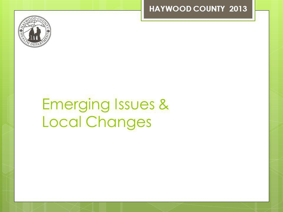 Emerging Issues & Local Changes HAYWOOD COUNTY 2013