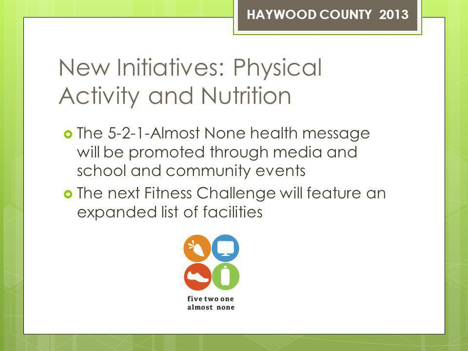 New Initiatives: Physical Activity and Nutrition The 5-2-1-Almost None health message will be promoted through media and school and community events The next Fitness Challenge will feature an expanded list of facilities HAYWOOD COUNTY 2013