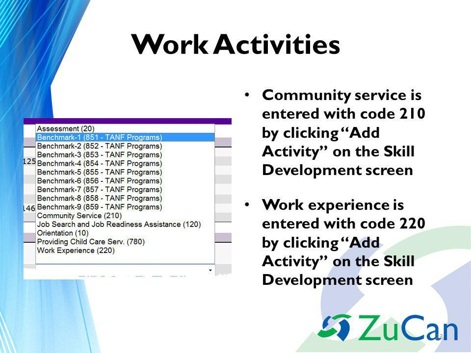 Work Activities Community service is entered with code 210 by clicking Add Activity on the Skill Development screen Work experience is entered with code 220 by clicking Add Activity on the Skill Development screen 23