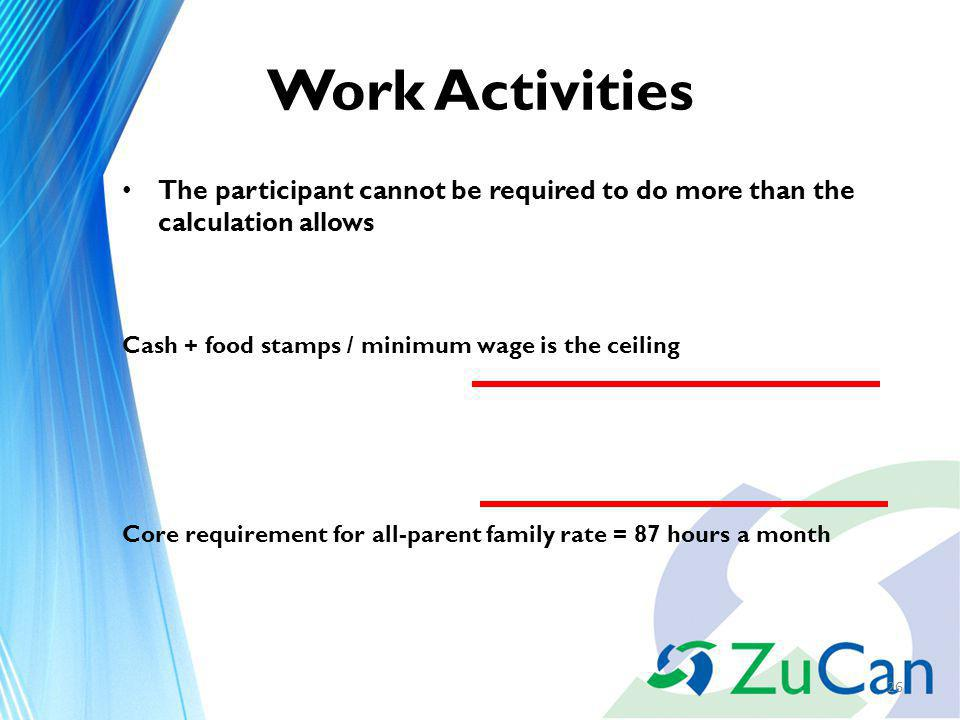 Work Activities The participant cannot be required to do more than the calculation allows Cash + food stamps / minimum wage is the ceiling Core requirement for all-parent family rate = 87 hours a month 26
