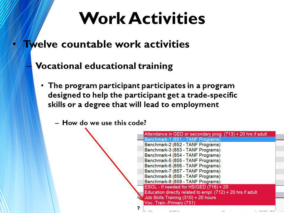 Work Activities Twelve countable work activities – Vocational educational training The program participant participates in a program designed to help the participant get a trade-specific skills or a degree that will lead to employment – How do we use this code.
