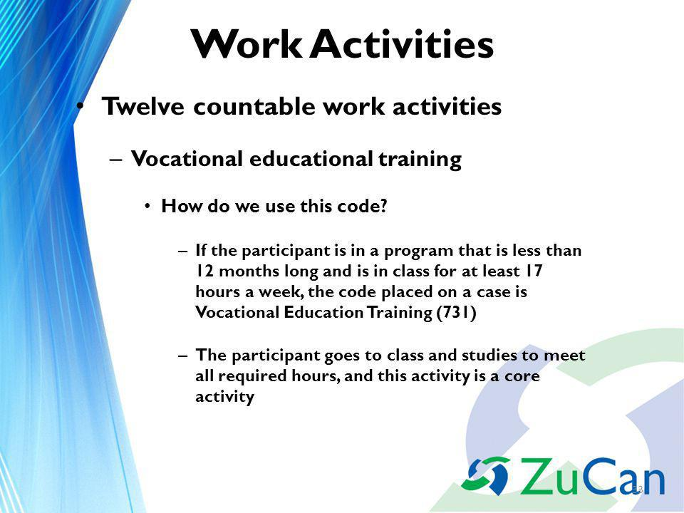Work Activities Twelve countable work activities – Vocational educational training How do we use this code.