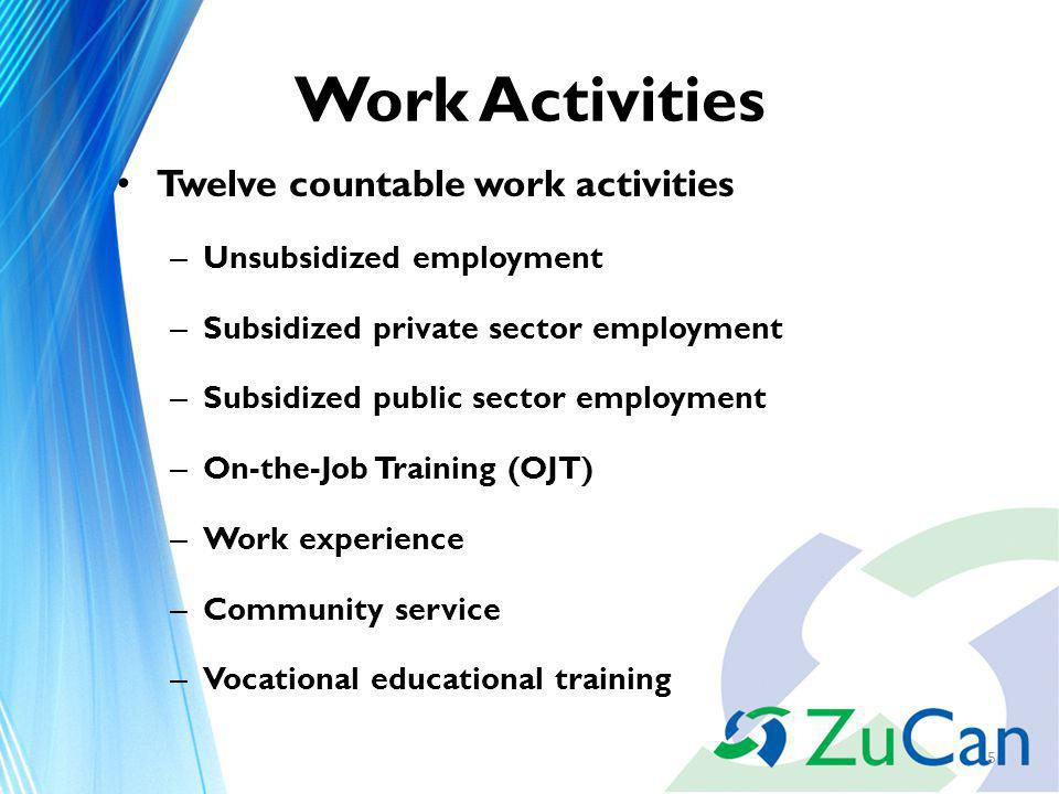 Work Activities Twelve countable work activities – Unsubsidized employment – Subsidized private sector employment – Subsidized public sector employment – On-the-Job Training (OJT) – Work experience – Community service – Vocational educational training 5