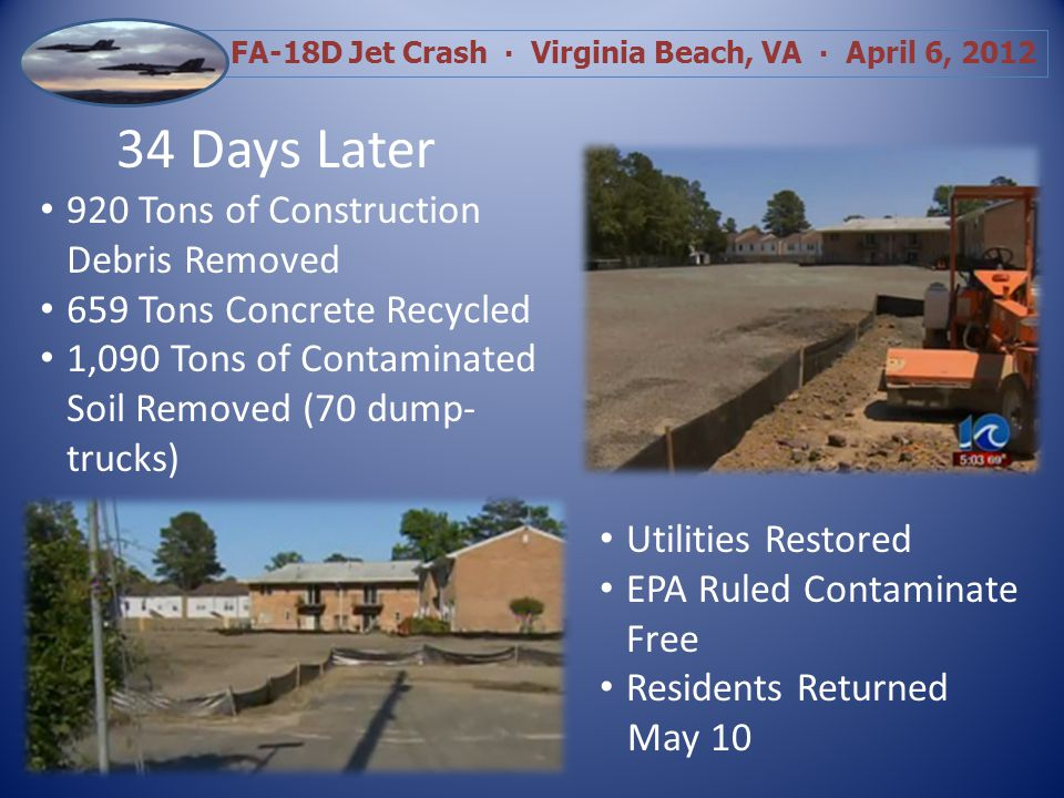 FA-18D Jet Crash Virginia Beach, VA April 6, 2012 34 Days Later 920 Tons of Construction Debris Removed 659 Tons Concrete Recycled 1,090 Tons of Contaminated Soil Removed (70 dump- trucks) Utilities Restored EPA Ruled Contaminate Free Residents Returned May 10