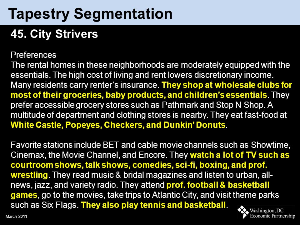 March 2011 Tapestry Segmentation 45. City Strivers Preferences The rental homes in these neighborhoods are moderately equipped with the essentials. Th