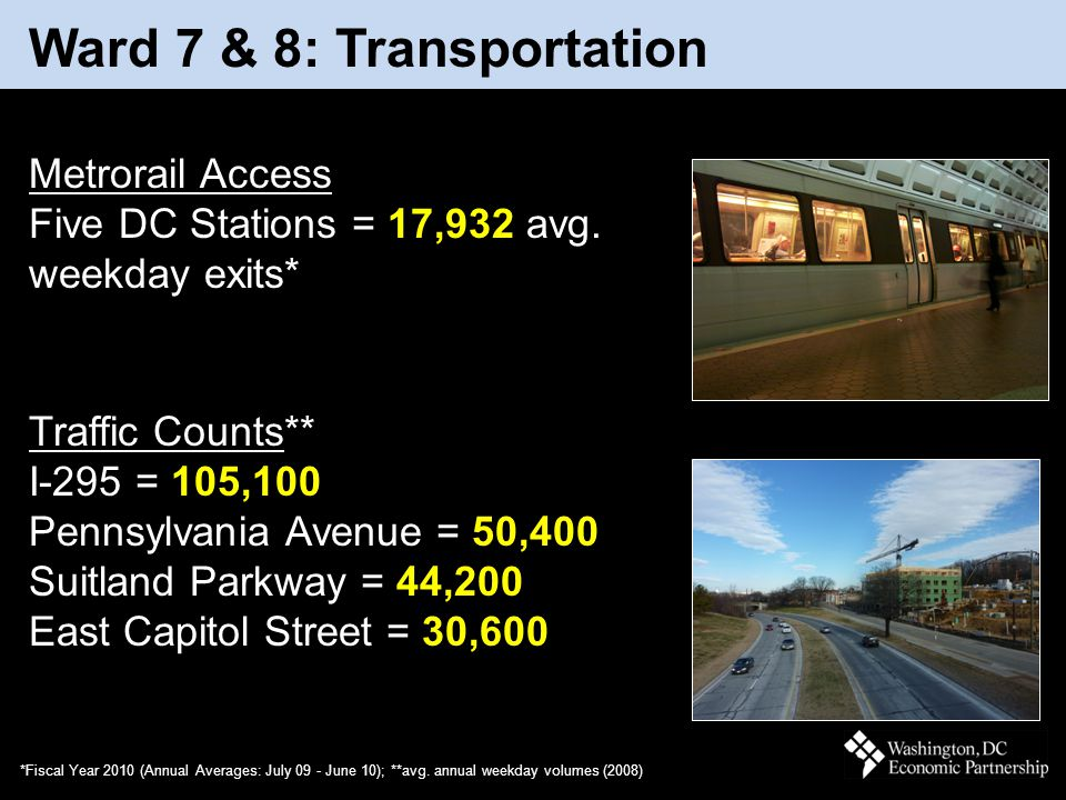 March 2011 Ward 7 & 8: Transportation *Fiscal Year 2010 (Annual Averages: July 09 - June 10); **avg. annual weekday volumes (2008) Metrorail Access Fi