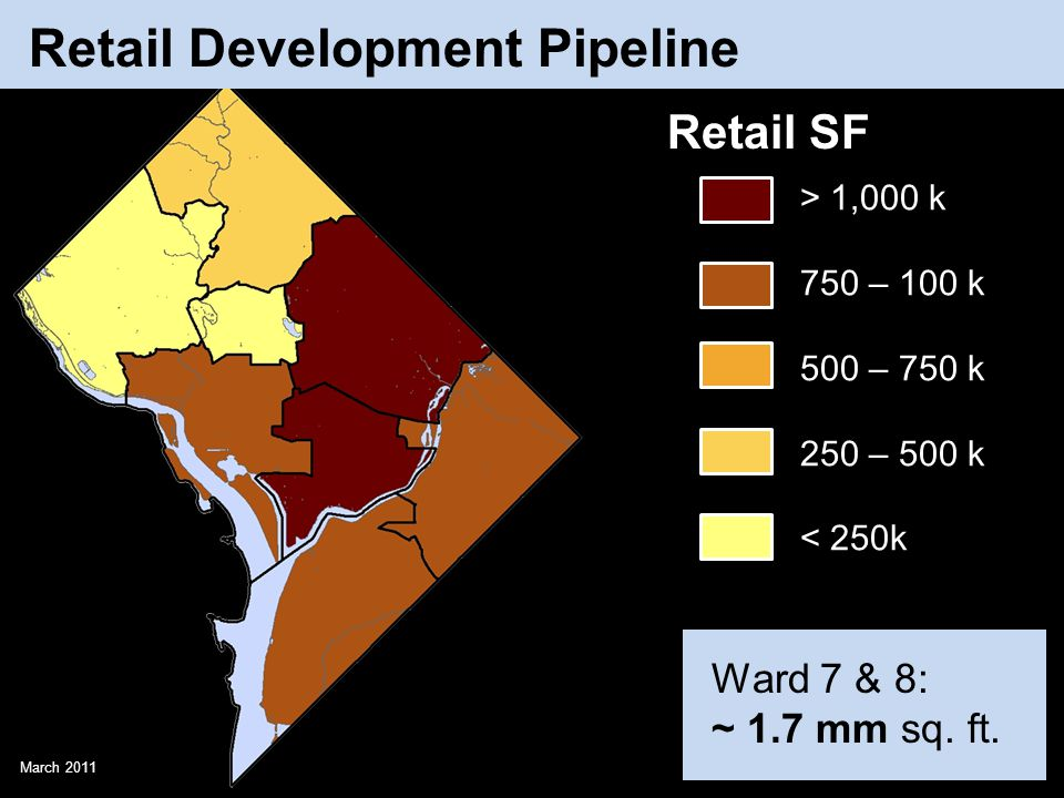 March 2011 Retail Development Pipeline > 1,000 k 750 – 100 k 500 – 750 k 250 – 500 k < 250k Retail SF Ward 7 & 8: ~ 1.7 mm sq. ft.