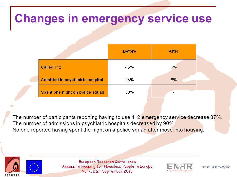 European Research Conference Access to Housing for Homeless People in Europe York, 21st September 2012 Changes in emergency service use The number of