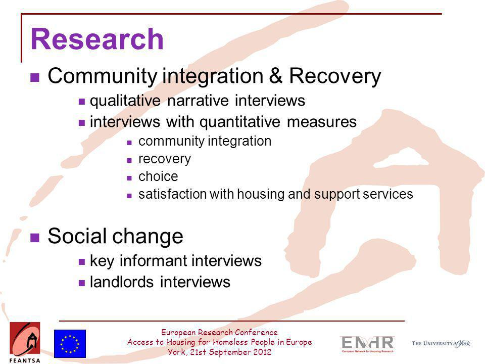 European Research Conference Access to Housing for Homeless People in Europe York, 21st September 2012 Research Community integration & Recovery quali