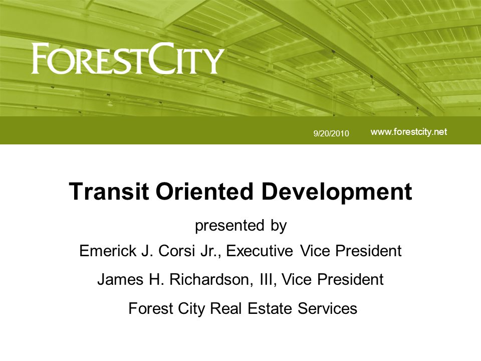Transit Oriented Development32www.forestcity.net Train Study Concepts