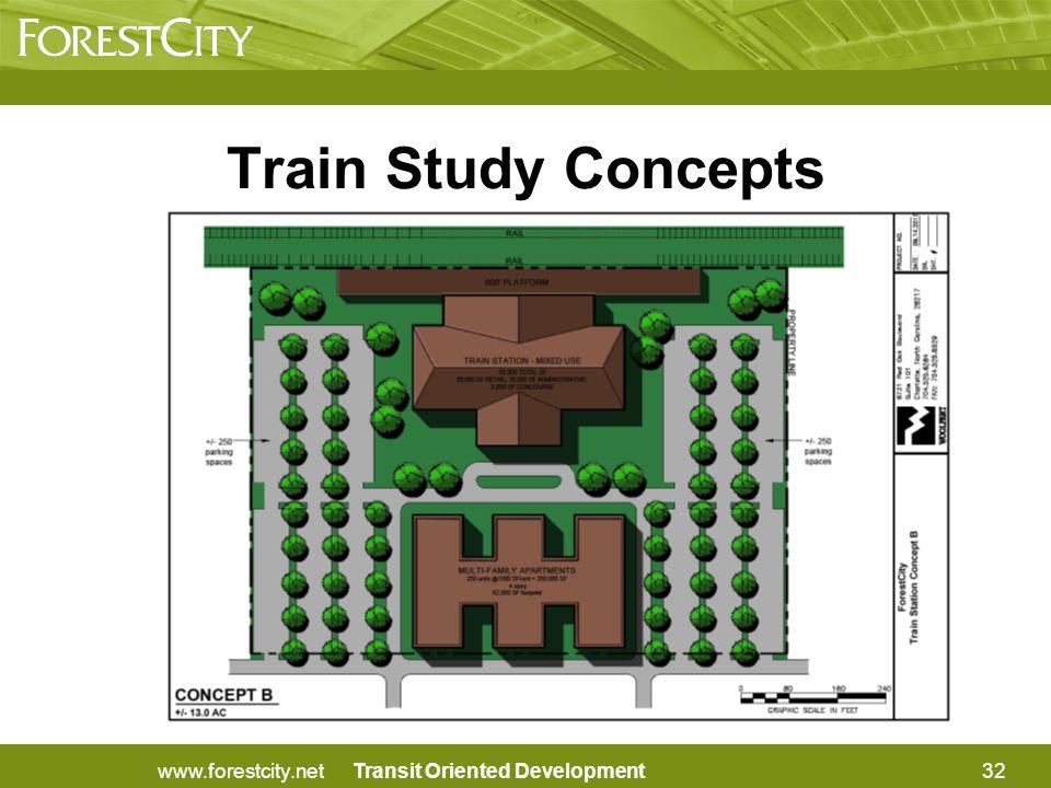 Transit Oriented Development32www.forestcity.net Train Study Concepts