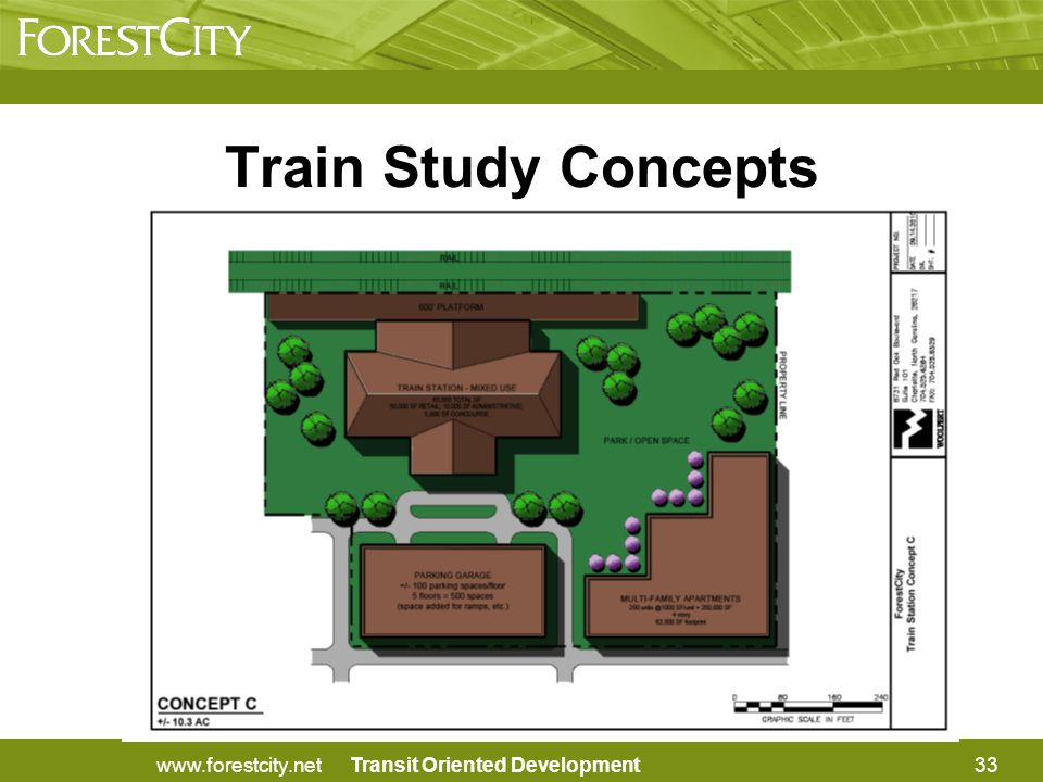Transit Oriented Development33www.forestcity.net Train Study Concepts