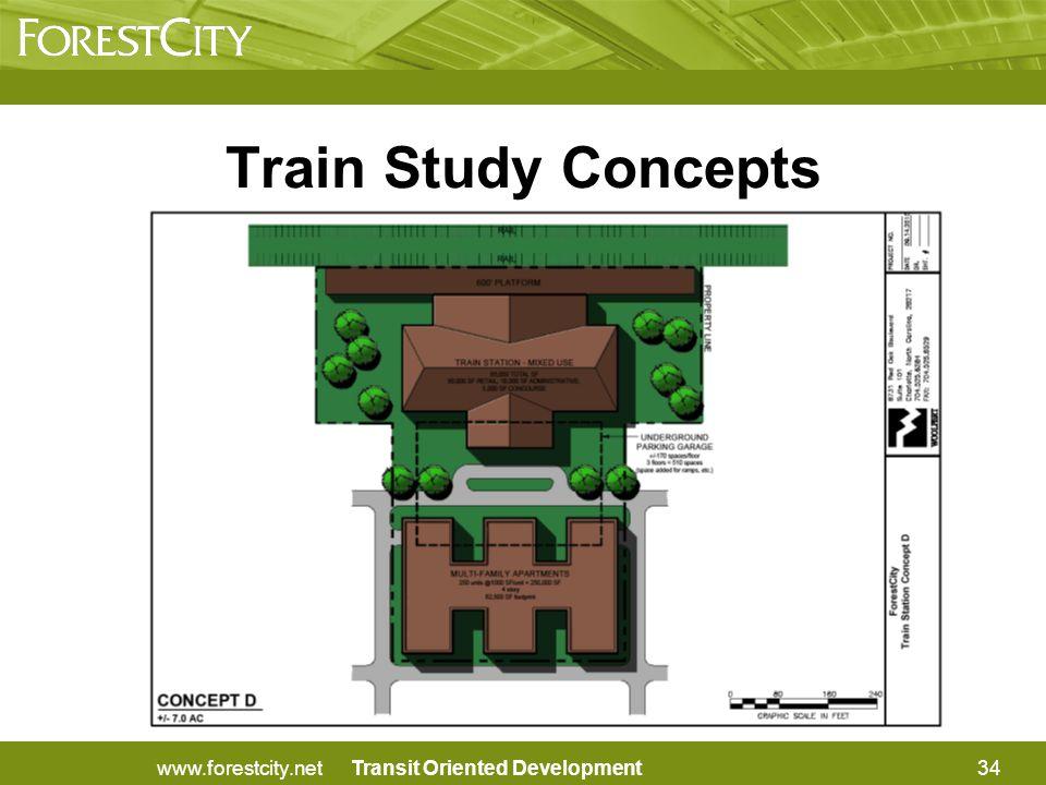Transit Oriented Development34www.forestcity.net Train Study Concepts